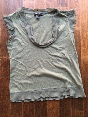 DKNY Camisa con cuello caído caqui