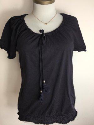 Camiseta azul oscuro-color plata