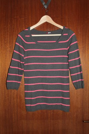 Shirt dunkelgrau-koralle gestreift H&M