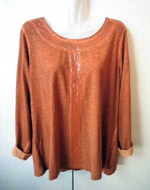 Shirt dunkelorange Pailletten oil dyed Gr. 44 - 46