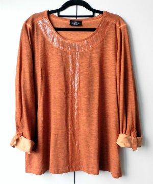 Shirt dunkelorange Pailletten oil dyed Gr. 44 - 46