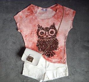 Shirt Eule Glitzer Pailletten Bronze Batik Washed Look Gr. S