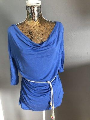 Camisa con cuello caído azul celeste
