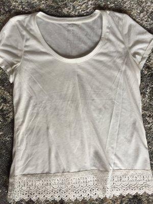 Shirt, feinstrick, 36, spitze, wollweiss