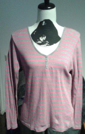 Camisa de rayas rosa-gris