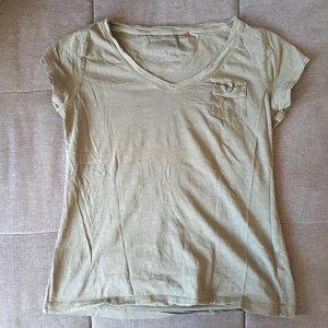 T-shirt col en V gris vert-kaki