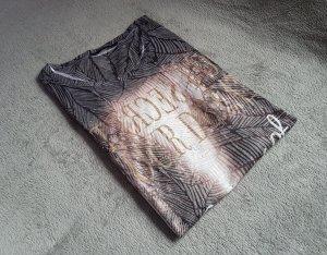 Shirt Grau Braun Print My Own Asymetrisch Gr. 36