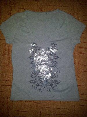 Shirt grau mit Silber Druck Gr. S