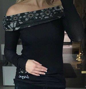 Shirt Gris von Desigual Longsleeve Gr. S schwarz Offshoulder NEU