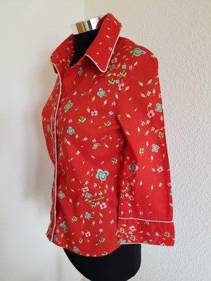 Shirt H&M 3/4 Armlänge rot mit Blumen  Größe 34