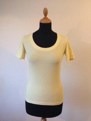 shirt Halbarm tief Rundhals gelb vanille pastell stretch
