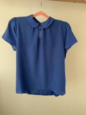 Shirt Hallhuber Bubikragen Seide blau L