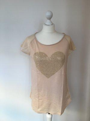 Shirt Hallhuber Herzmotiv mit Nieten, Baumwolle mit Seide, Gr. S