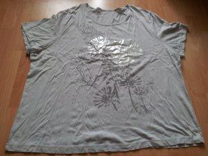 Shirt hellgrau Gr. 50/52 Blumen silber
