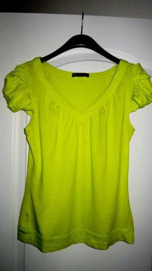 Mango V-hals shirt neon groen-limoen geel Katoen