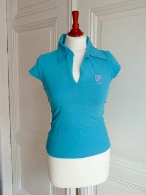 Shirt in türkis mit Kurzarm und Kragen