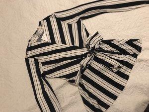 H&M Wraparound Shirt black-white