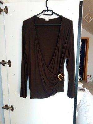 Shirt in Wickeloptik Größe 46 braun
