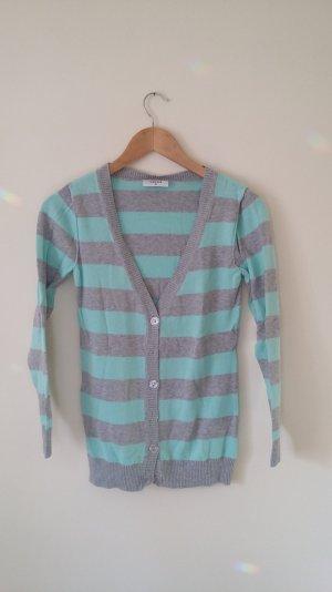 Shirt jacke, Cardigan, Baumwollcardigan, hellgrau /mintgrün gestreift, Gr 36/38, etwas länger geschnitten,