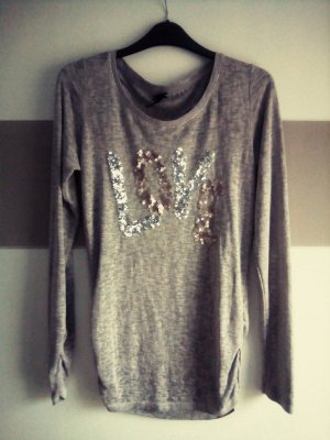 Shirt Key Largo grau Gr. L Love pailetten