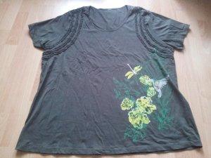 Shirt khaki braun Gr. 50/52 Blumen Pflanze Libelle Vogel Kolibri