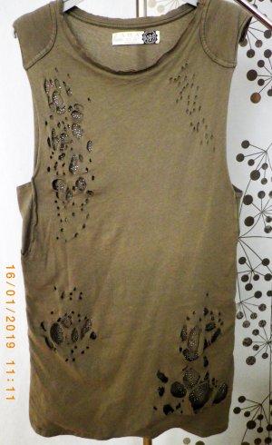 Shirt, khaki mit Glitzersteinen