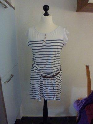 shirt Kleid Blau Weiß Gr. 42