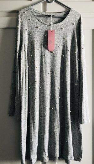 Shirt-Kleid gr. xl (44) grau mit Perlen