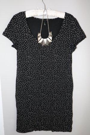 Shirt Kleid schwarz weiße Punkte Gr L H&M