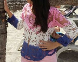 Shirt Lace Spitze Top Crochet Sehmi S vintage blogger hipster boho pink nude