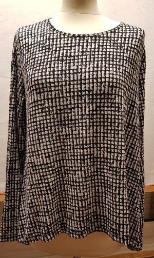 Shirt, Lagenlook, schwarz, weiss, kariert, vorne kürzer, zipflig, Gr. 42