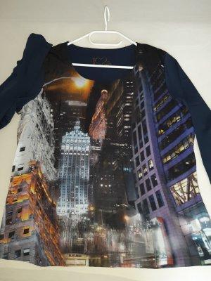 Shirt Langarm mit Blusenstoff Gr. 44