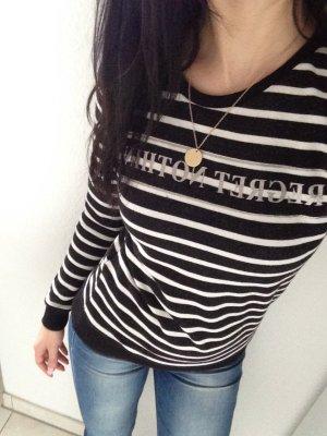 Shirt Langarm schwarz/weiß gestreift Gr. XS