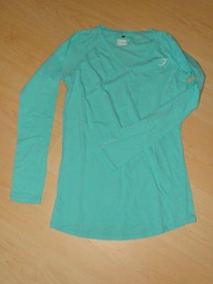 Shirt Langarm V-Ausschnitt Türkis Gr. L Gymshark (NP: 26€)