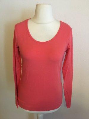Shirt Langarmshirt Basic Longsleeve hellrot lachs Gr. M