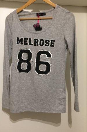 Shirt Langarmshirt *Gr. 40* Grau mit Logo College-Look *Melrose*
