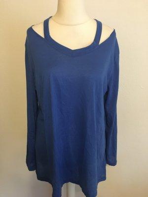 Shirt Langarmshirt Longshirt oversized blau mit Cut-Outs