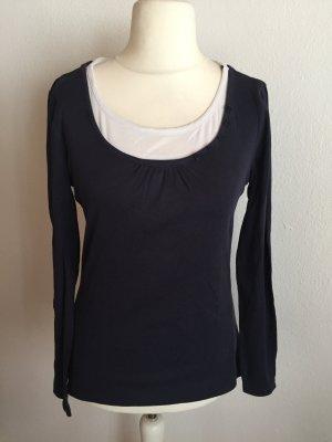 Shirt Langarmshirt Longsleeve 2-in-1 dunkelblau Gr. 40/42