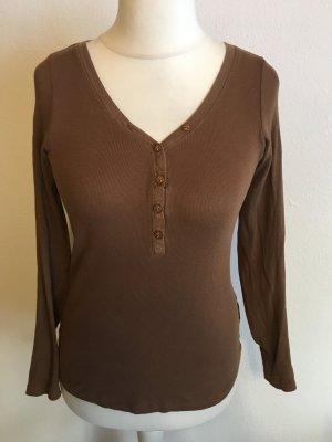 Shirt Langarmshirt Longsleeve Basic braun Gr. M