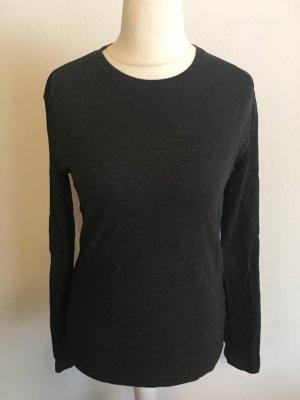 Shirt Langarmshirt Longsleeve Basic schwarz dunkelgrau Gr. S