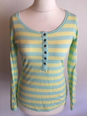 Shirt Langarmshirt mit Knopfleiste gestreift Gr. 36