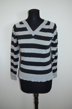 Shirt, Langarmshirt, Ringelshirt, schwarz grau gestreift, V-Ausschnitt