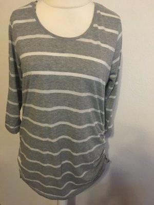 Shirt Longshirt gestreift 3/4 Ärmeln grau weiß Gr. M