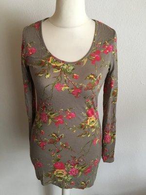 Shirt Longshirt Langarmshirt khaki mit Blumenmuster Gr. S