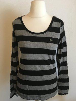 Shirt Longshirt Langarmshirt Lacoste gestreift schwarz grau Gr. 40