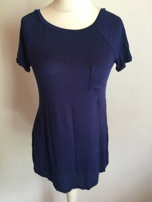 Shirt Longshirt Oberteil lang locker blau Gr. S