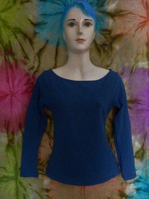 Shirt, Longsleeve, gestreift, blau schwarz Gr. S