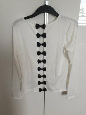Shirt longsleeve schleifen schwarz weiß neu Gr L