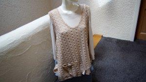 #Shirt m. Häkelüberwurf, Gr. 48/50, #NEU, #beige, #Unique
