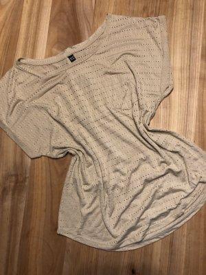 Shirt - M - Lochmuster - beige